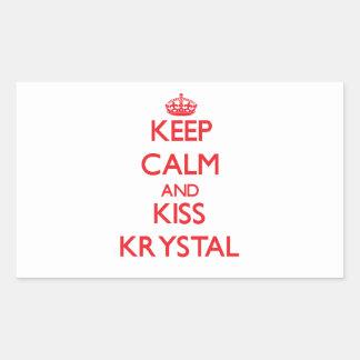 Mantenga tranquilo y beso Krystal Rectangular Pegatina