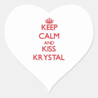 Mantenga tranquilo y beso Krystal Pegatina En Forma De Corazón