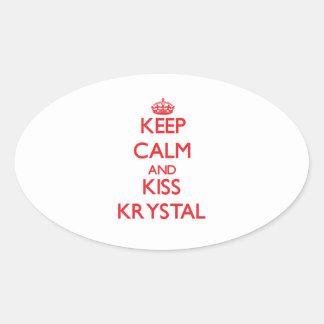 Mantenga tranquilo y beso Krystal Pegatina Ovalada