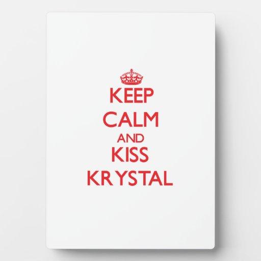 Mantenga tranquilo y beso Krystal Placa Para Mostrar