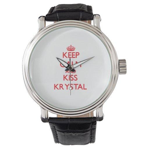 Mantenga tranquilo y beso Krystal Reloj De Mano