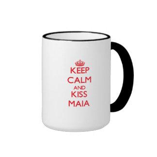 Mantenga tranquilo y beso Maia Tazas De Café