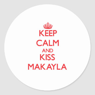 Mantenga tranquilo y beso Makayla Pegatina