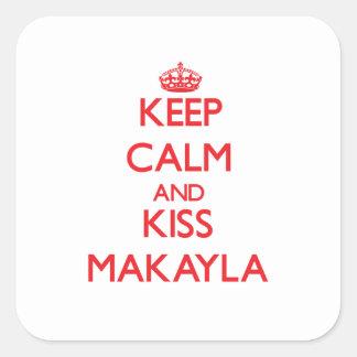 Mantenga tranquilo y beso Makayla Calcomanías Cuadradas Personalizadas
