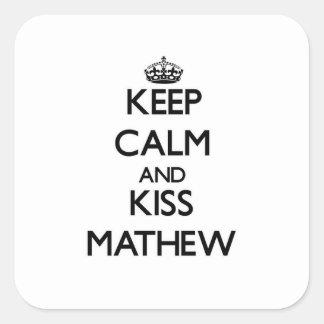 Mantenga tranquilo y beso Mathew Calcomanía Cuadradas Personalizadas