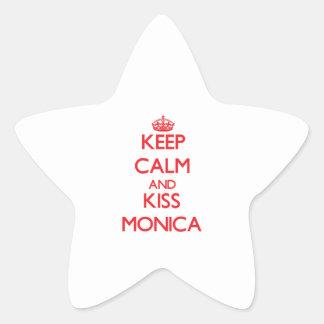 Mantenga tranquilo y beso Mónica Pegatina En Forma De Estrella