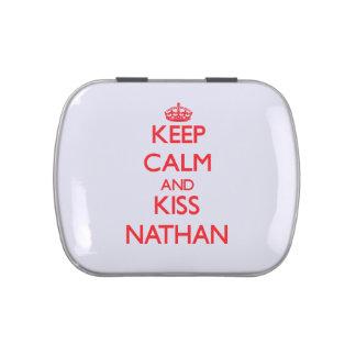 Mantenga tranquilo y beso Nathan Frascos De Caramelos