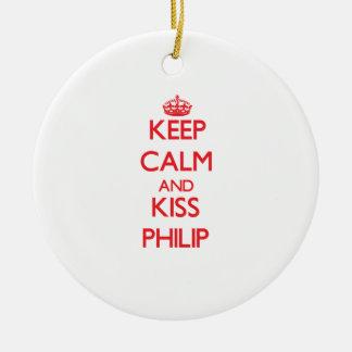 Mantenga tranquilo y beso Philip Adorno Redondo De Cerámica