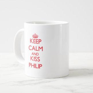 Mantenga tranquilo y beso Philip Tazas Extra Grande