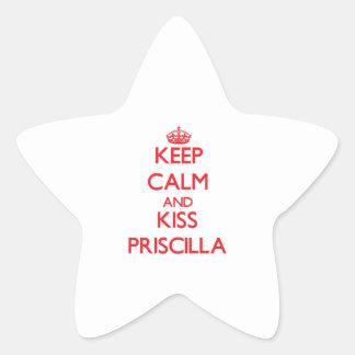 Mantenga tranquilo y beso Priscilla Calcomania Forma De Estrella Personalizada