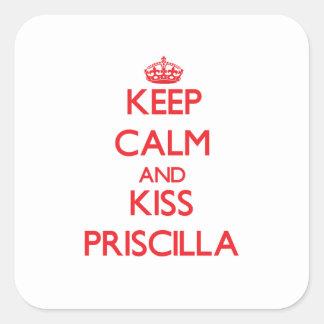 Mantenga tranquilo y beso Priscilla Pegatinas Cuadradases