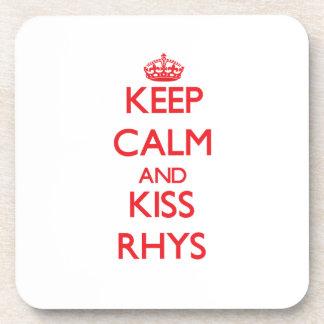 Mantenga tranquilo y beso Rhys Posavasos De Bebida
