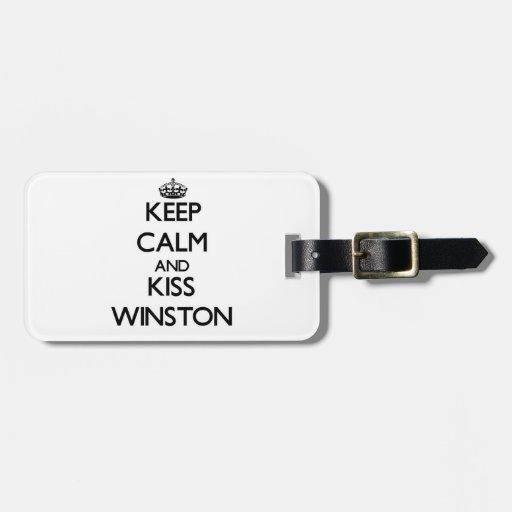 Mantenga tranquilo y beso Winston Etiquetas Para Maletas