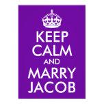 """Mantenga tranquilo y case a Jacob Invitación 5"""" X 7"""""""