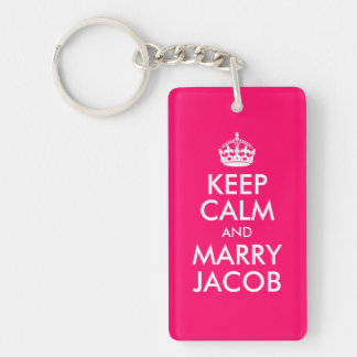 Mantenga tranquilo y case a Jacob Llavero Rectangular Acrílico A Doble Cara