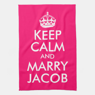 Mantenga tranquilo y case a Jacob Toalla De Cocina