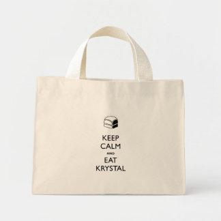 Mantenga tranquilo y coma a Krystal Bolsa Tela Pequeña