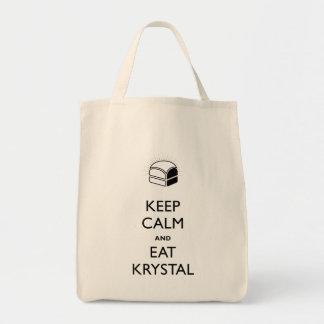 Mantenga tranquilo y coma a Krystal Bolsa Tela Para La Compra