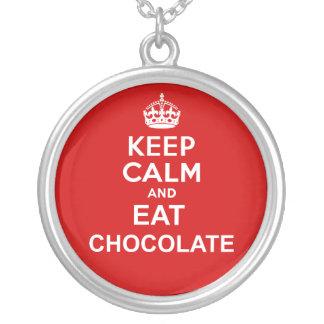 Mantenga tranquilo y coma Chocolat Colgante Redondo