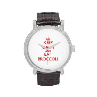 Mantenga tranquilo y coma el bróculi relojes de pulsera