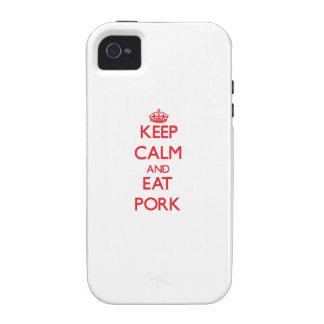 Mantenga tranquilo y coma el cerdo Case-Mate iPhone 4 funda