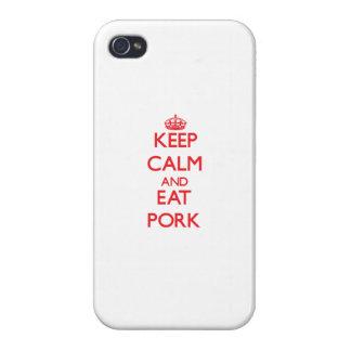 Mantenga tranquilo y coma el cerdo iPhone 4 protectores