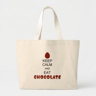 Mantenga tranquilo y coma el chocolate bolsa tela grande
