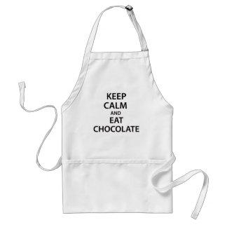 ¡Mantenga tranquilo y coma el chocolate! Delantal