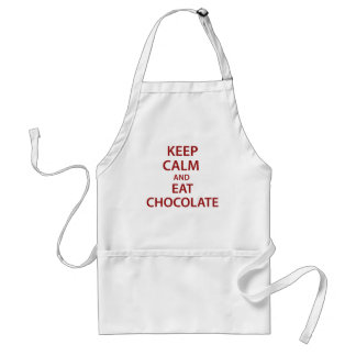 ¡Mantenga tranquilo y coma el chocolate! Delantales