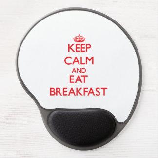 Mantenga tranquilo y coma el desayuno alfombrillas de ratón con gel