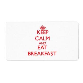 Mantenga tranquilo y coma el desayuno etiqueta de envío