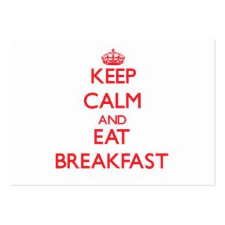 Mantenga tranquilo y coma el desayuno tarjeta personal