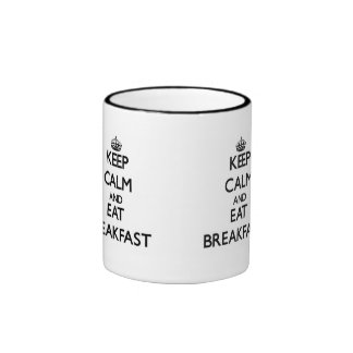 Mantenga tranquilo y coma el desayuno tazas de café