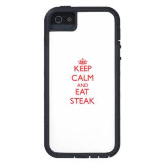 Mantenga tranquilo y coma el filete iPhone 5 fundas