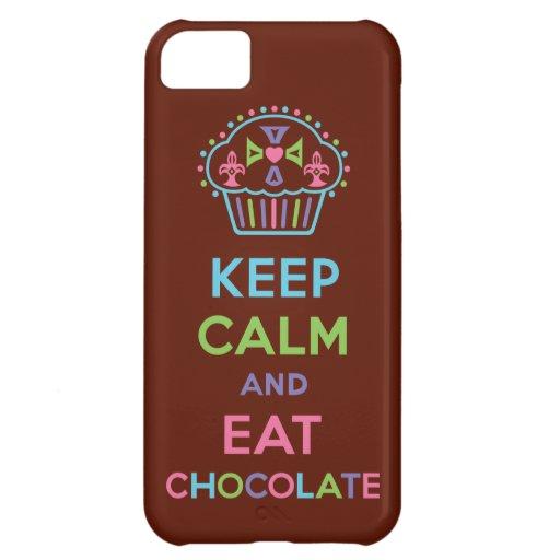 Mantenga tranquilo y coma el iPhone 5 del chocolat Funda Para iPhone 5C
