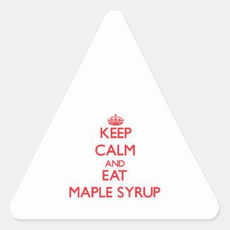 Mantenga tranquilo y coma el jarabe de arce pegatinas trianguladas personalizadas