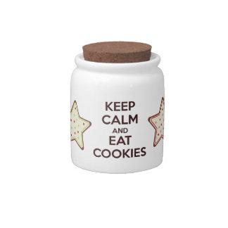 Mantenga tranquilo y coma el mini tarro de galleta platos para caramelos