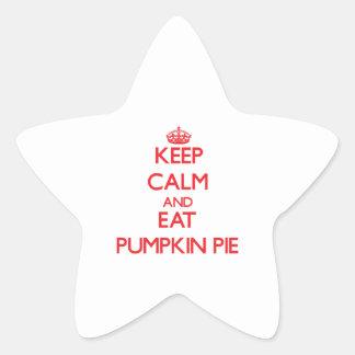 Mantenga tranquilo y coma el pastel de calabaza calcomania forma de estrella personalizada