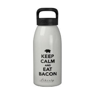 Mantenga tranquilo y coma el tocino botellas de agua reutilizables