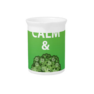 Mantenga tranquilo y coma el vector del bróculi jarra de beber