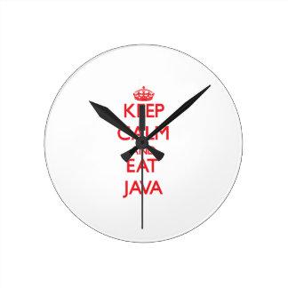 Mantenga tranquilo y coma Java Relojes De Pared