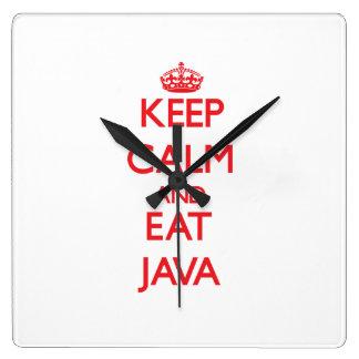 Mantenga tranquilo y coma Java Reloj De Pared