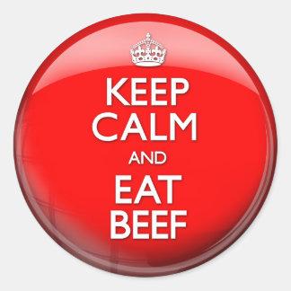 Mantenga tranquilo y coma la carne de vaca pegatinas redondas
