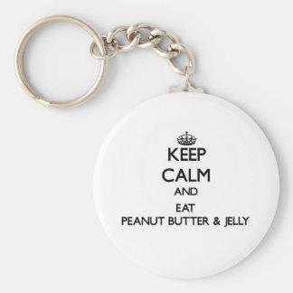 Mantenga tranquilo y coma la mantequilla y la jale llavero personalizado