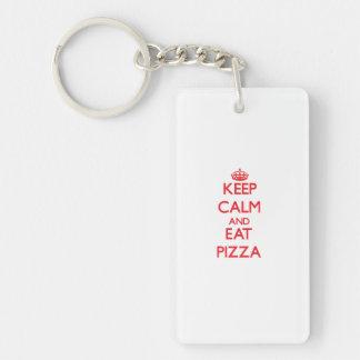 Mantenga tranquilo y coma la pizza llavero
