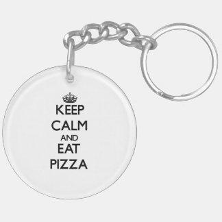 Mantenga tranquilo y coma la pizza llaveros
