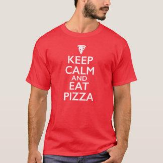 Mantenga tranquilo y coma la pizza playera