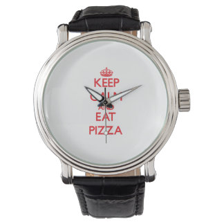 Mantenga tranquilo y coma la pizza relojes