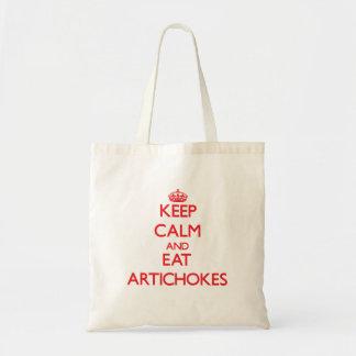 Mantenga tranquilo y coma las alcachofas bolsa tela barata