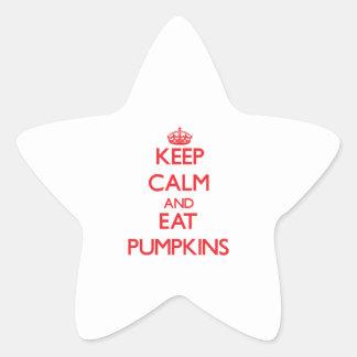 Mantenga tranquilo y coma las calabazas calcomanía forma de estrella personalizadas